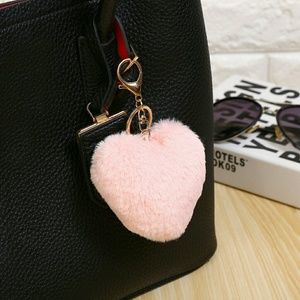 Accessories - Heart PomPom Bag Charm Key Chain FOB Pink